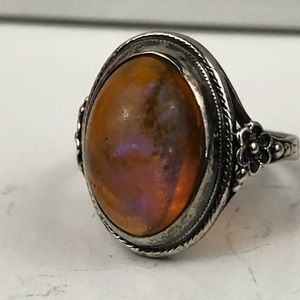 Vintage sterling ring iridescent stone